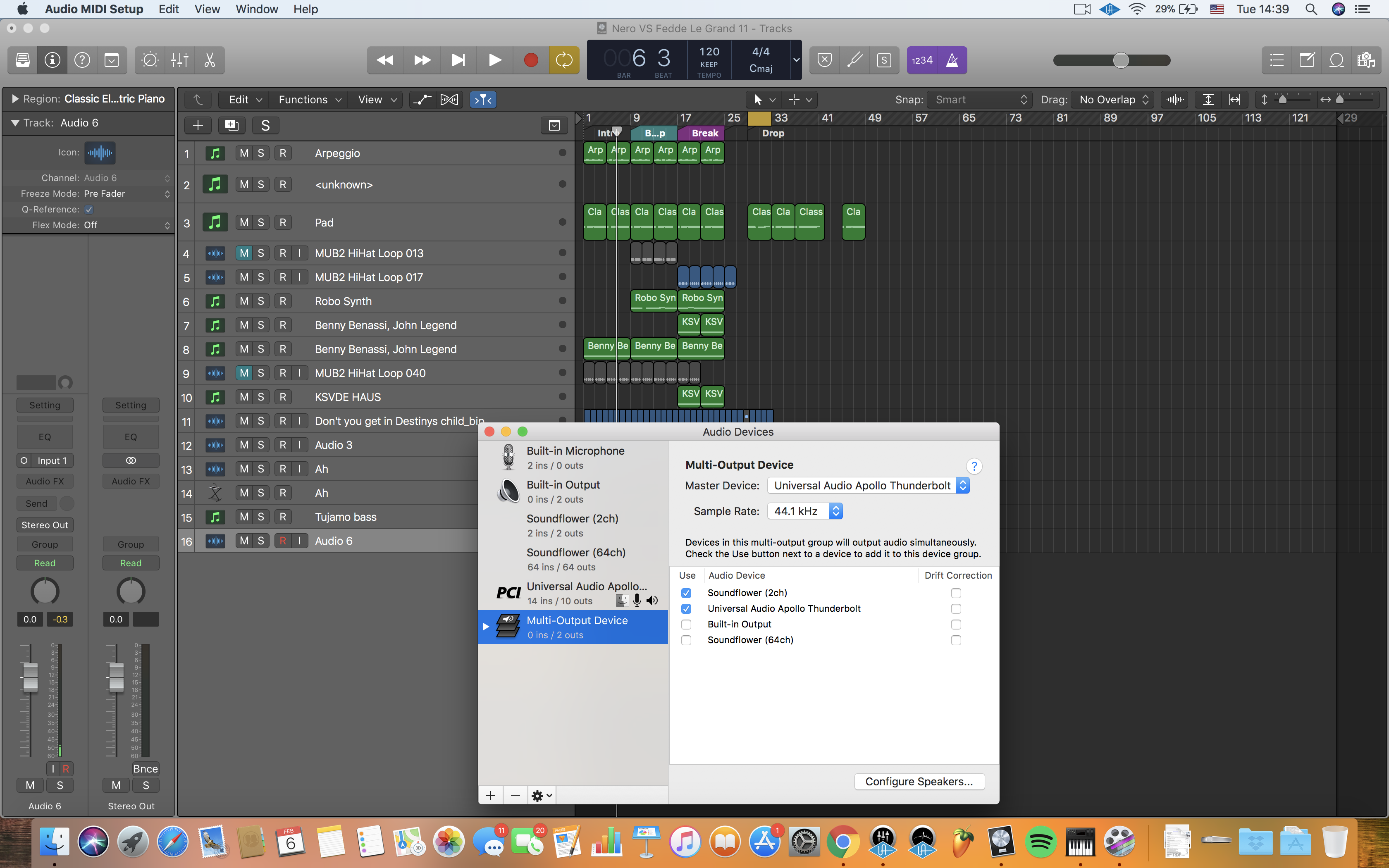 Recording Audio from mic and Logic Pro X separately into