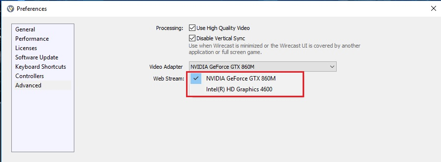 Wirecast 11 x Record-to-disk issues with graphics card